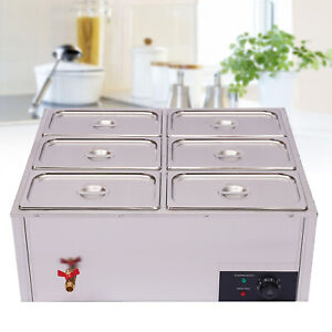 6 pan Steamer Commercial Food Warmer Buffet Electric Countertop Stainless Steel