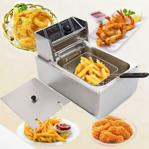 2500w Electric Countertop Deep Fryer Dual Tank 6liter Commercial Home Stainless