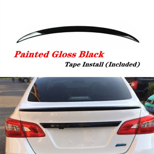 Rear Trunk Lip Spoiler Wing Painted Gloss Black Fit For Nissan Sentra 2013 2019