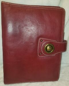 Vtg Compact Franklin Covey Full Grain Red Leather 1 Rings Planner Turnlock Nice