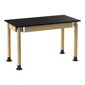Nps Signature Series Wood Science Lab Table With Phenolic Top In Oak