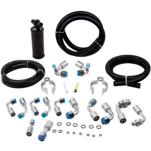 134a Air Conditioning Ac Hose Kit Assembly Black Fittings Drier Connectors