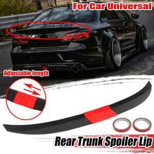 Adjustable Rear Trunk Spoiler Lip Wing Unpainted Black For Car Sedan Universal