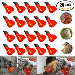 20 Pack Poultry Water Drinking Cups Chicken Hen Plastic Automatic Drinker quail