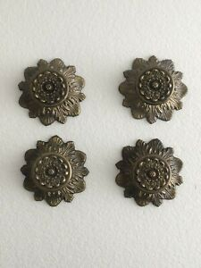 Vintage Cabinet Knobs With Backplates Lot Of 4 With Mounting Screws