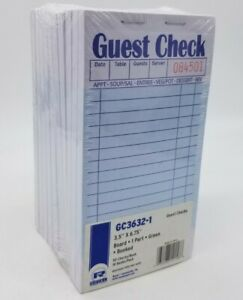 Royal Guest Check Book One part Receipt 50 Checks 10 Books rppgc36321