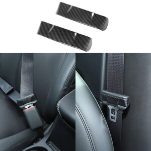 2x Carbon Fiber Seat Safety Belt Buckle Cover Trim For Jeep Compass 2017 2020