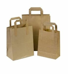 Kraft Paper Brown White Sos Food Carrier Bags With Handles Party Takeaway Etc