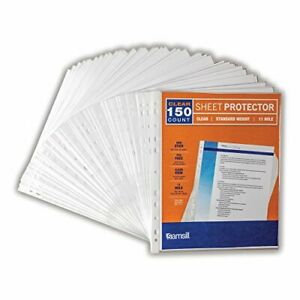 150 Pcs Sleeves Clear Plastic Sheet Page Protectors Document Office Ring Binder