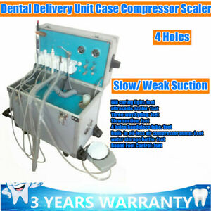 Mobile Dental Delivery Unit Portable Rolling Box Treatment Cart Equip 4holes Usa
