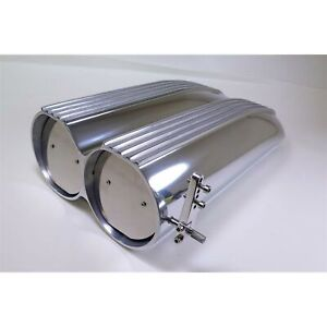 Polished Aluminum Finned Top Shotgun Intake Air Scoop Single Dual Carb Set