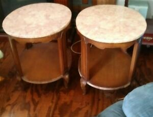 Vintage Weiman 2 Side Tables Mahogany Wood With Marble Top