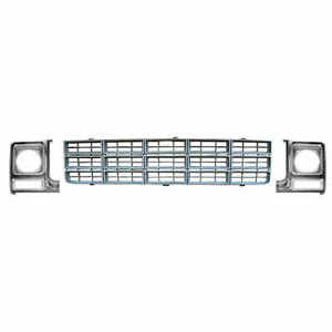 Black Grille Chrome Argent Headlight Doors Kit For 77 79 Chevy Ck Pickup Truck
