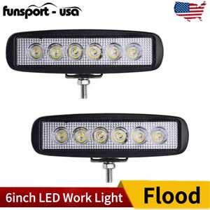 6inch 18w Led Work Light Bar 4wd Offroad Flood Pods Fog Atv Suv Driving Lamp Us