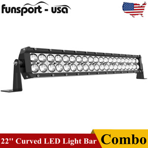 22inch 120w Curved Led Light Bar Spot Flood Combo Offroad Driving Bumper Atv