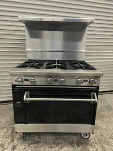 36 Natural Gas Range 6 Open Burner Standard Oven Base Commercial Jade 5441