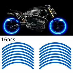 16 Strips Blue Reflective Motorcycle Car Rim Stripe Wheel Decal Tape Stickers