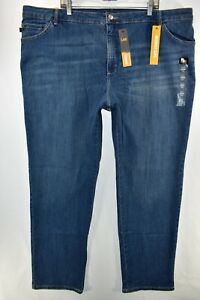New Lee Classic Fit Straight Leg Stretch Blue Jeans Womens Plus Size 26W Long $19.99
