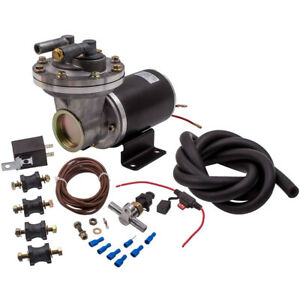 Electric Vacuum Pump Kit W Hose For Brake Booster 12 Volt 18 To 22 1x Relay
