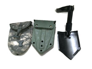 US Army Military AMES Entrenching Folding E Tool Shovel amp; Used ACU Cover $32.75