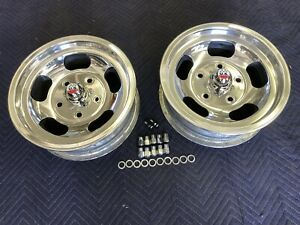 Vintage Pair Polished 15x 5 5 Shelby Call 500 Mags 5 On 5 1 2 Ford Pickup ratrod