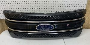 2011 2012 2013 2014 2015 Ford Explorer Front Grill Black Limited W Chrome Oem