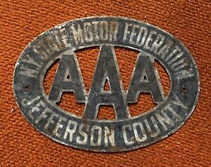 Vintage Aaa Radiator Badge Plate Tag Topper Jefferson County New York