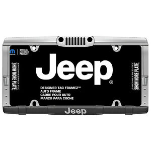 Chrome Black Jeep Grill Bumper Auto License Plate Frame Universal Fit 1pc