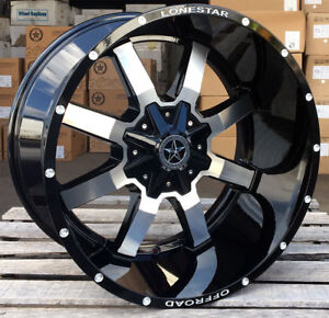 22 Black Machined Lonestar Gunslinger Wheels 22x12 6x139 7 44 Chevy Gmc Toyota
