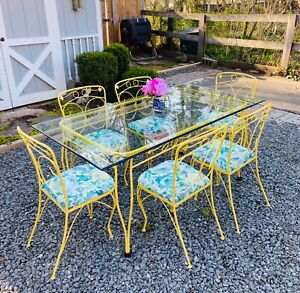 Vintage Wrought Iron 7 Piece Patio Table Chairs Dining Set Refinished