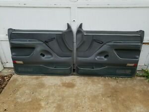 92 96 Ford F150 F250 F350 Bronco Front Power Door Panels Gray With Switches