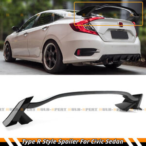 For 16 21 Honda Civic 4 Door Sedan Glossy Black Type R Style Trunk Spoiler Wing