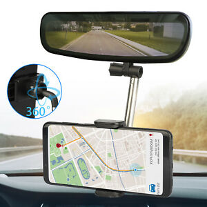 Universal 360 Car Rear View Mirror Mount Holder Stand Cradle For Cell Phone Gps