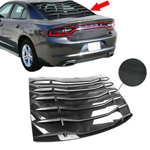 Fits 2011 2020 Charger Carbon Style Rear Window Louver Cover Vent Black Abs