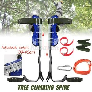 Tree Pole Climbing Tool Safety Steel Belt Straps Lanyard Carabiner Climb Usa