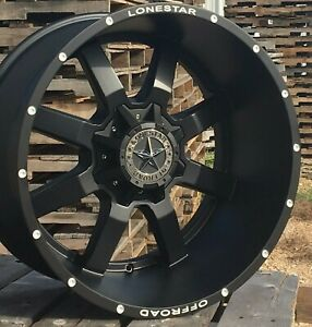 22 Matte Black Lonestar Gunslinger Wheels 22x12 8x170 44mm F250 F350 Excursion