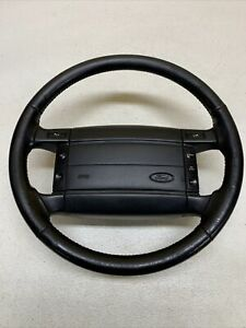 92 96 Ford F 150 F 250 Bronco Complete Leather Steering Wheel Oem Rare