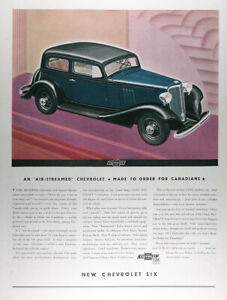 1933 Chevrolet Stream Lined 6 Genuine Fisher Body Lot Of 2 Rare Cdn Ads