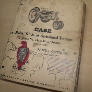 Case Model D Series Tractor Parts Manual Book Spare List Catalog 1941 1942 1943