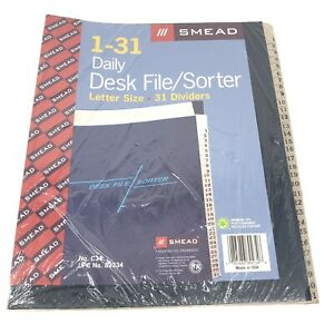 Smead 1 31 Daily Desk File Sorter Letter Size 31 Dividers Brand New