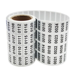 Consecutive Number Label Stickers Adhesive Waterproof Office Storage Mark