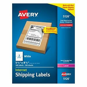 Avery 5126 Shipping Labels Laser Printers 200 Labels Permanent Adhesive White