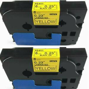 2pk Fit For Brother P touch Laminated Tze Tz Label Tape 6mm Black On Yellow