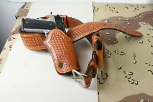 Vintage G. Wm. Davis Leather Belt Holster Mag Pouch amp; Keepers for 1911 RH 36 $249.00