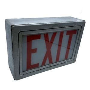 Vintage Exit Sign Glass Metal Casing Tested And Works Great