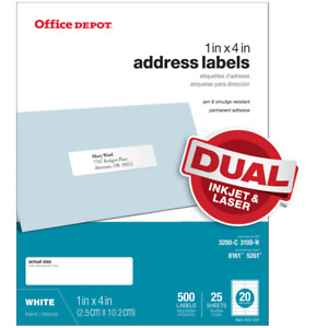 Office Depot Inkjet laser Address Labels 1 X 4 White 500 pack