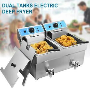 24l Electric Deep Fryer Dual Tank Commercial Restaurant Stainless Steel W basket