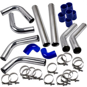 2 5 Universal Turbo Intercooler Piping Pipe Duct Tube Kit With Bolt Clamp Blue