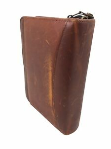 Vtg Franklin Covey Planner Organizer Classic Spacemaker Brown Genuine Leather