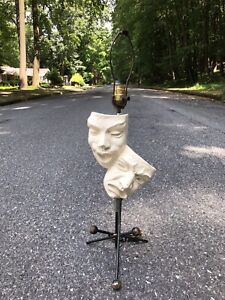 Vintage Frederic Weinberg Comedy Tragedy Table Lamp Figural Mcm 1950s 60s